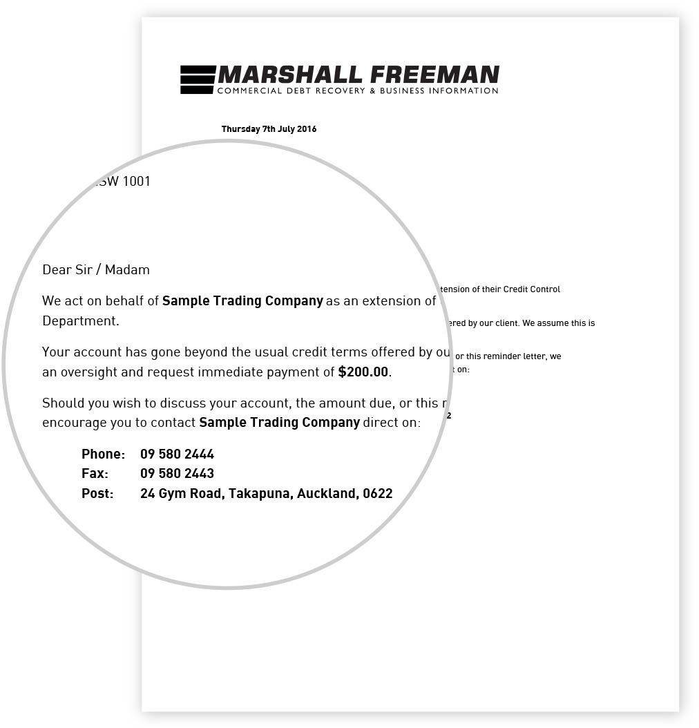 marshall man debt collection assistance slow payers